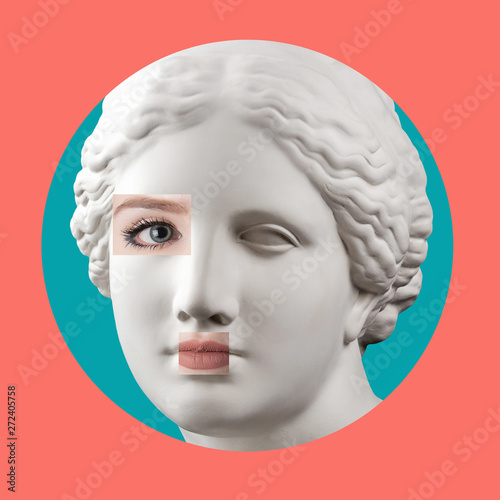 Canvas Contemporary art poster with ancient statue of Venus head and details of a living woman's face
