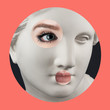 canvas print picture Contemporary art poster with ancient statue of Venus head and details of a living woman's face.