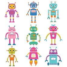 Isolated Cute Cartoon Robots Set
