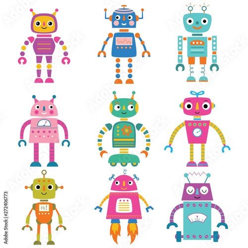 Deurstickers Robots Isolated cute cartoon robots set