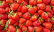canvas print picture - Fresh organic Strawberry fruit background Top view closeup
