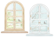 Set Of Two Classic Arch Window...
