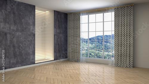 Fotografia  Empty interior with window. 3d illustration