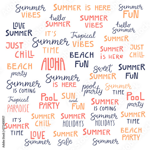 Big set of hand written summer lettering quotes, in blue ...