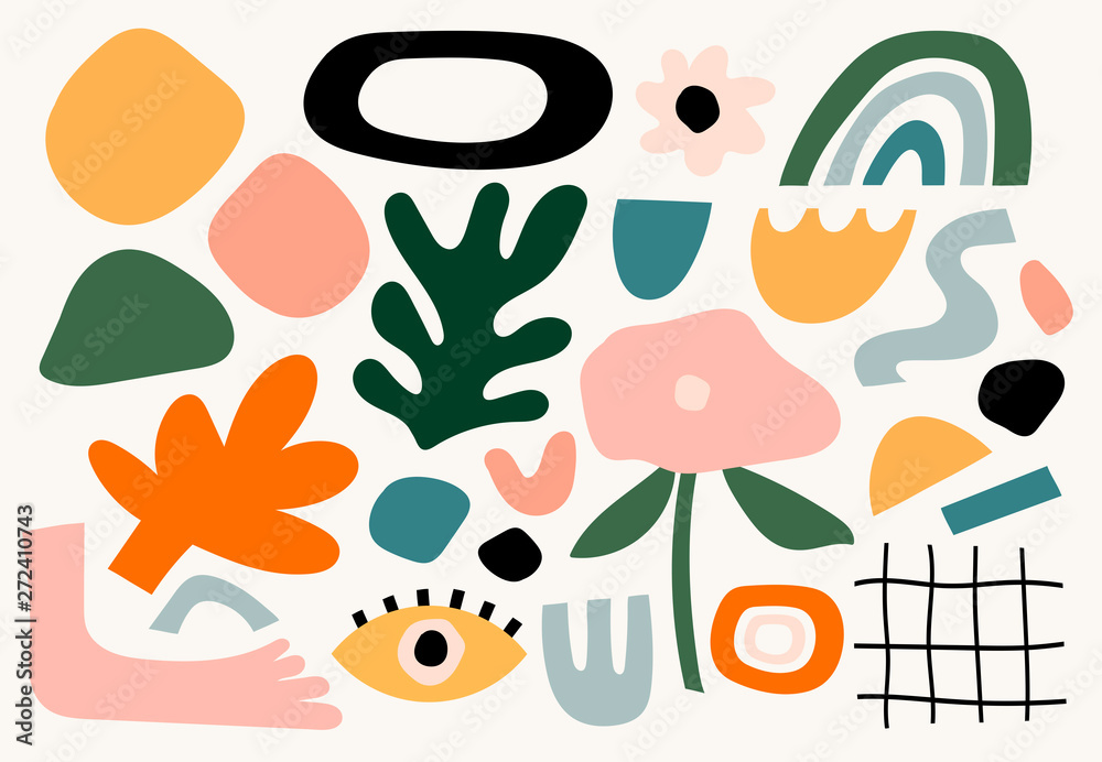 Set of hand drawn various shapes and doodle objects. Abstract contemporary modern trendy vector illustration. All elements are isolated