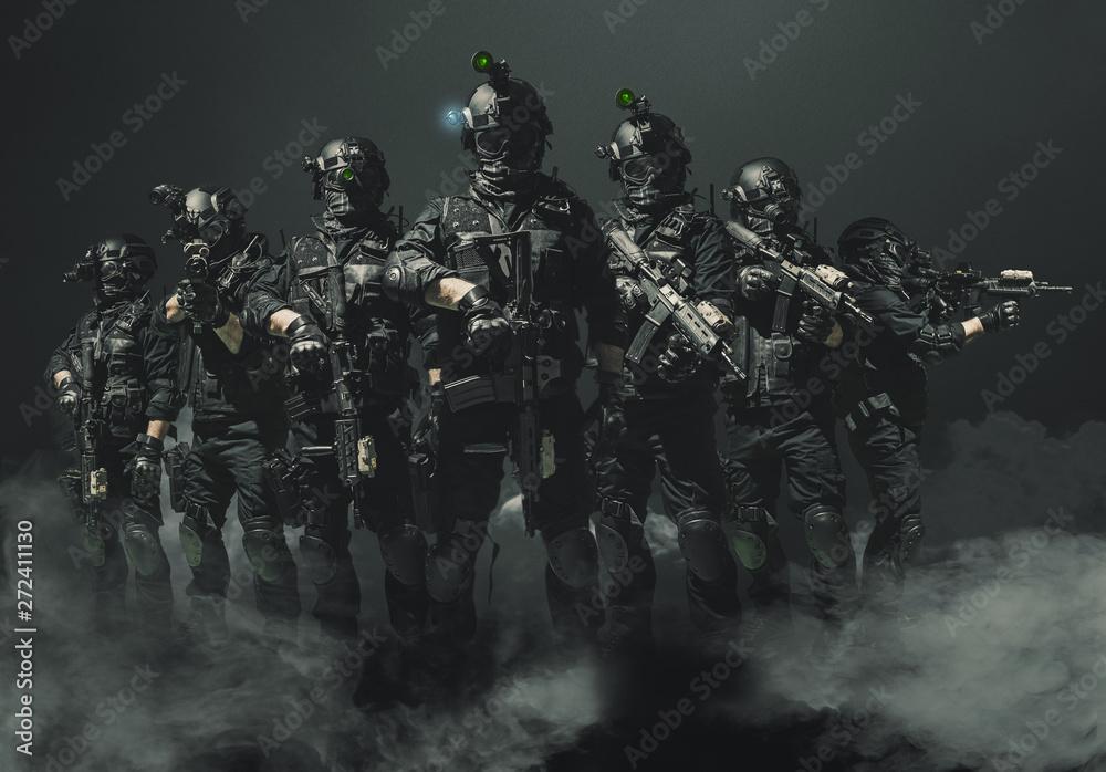 Fototapeta special forces soldier police, swat team member