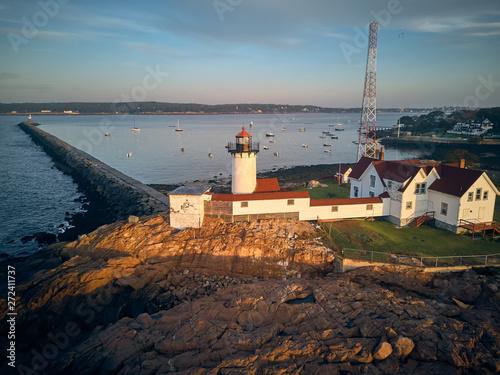 Eastern Point Lighthouse at sunrise in Gloucester, Massachusetts, USA Fototapet