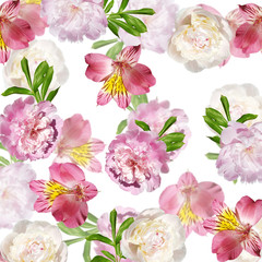 Fototapeta Peonie Beautiful floral background of alstroemeria and peonies. Isolated
