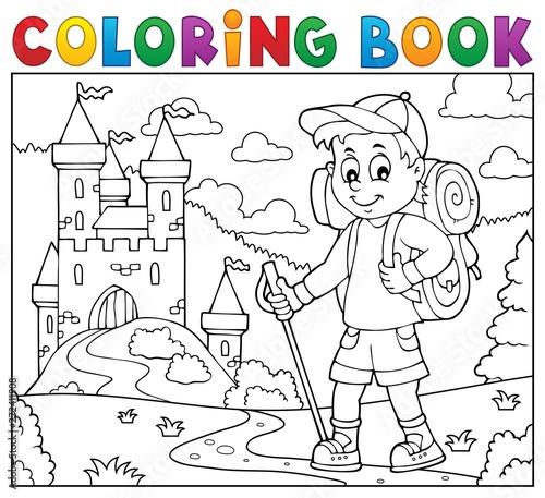 Fotobehang Voor kinderen Coloring book hiker boy topic 2