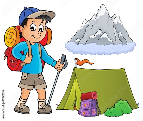 Wall Murals For Kids Image with hiker boy topic 1