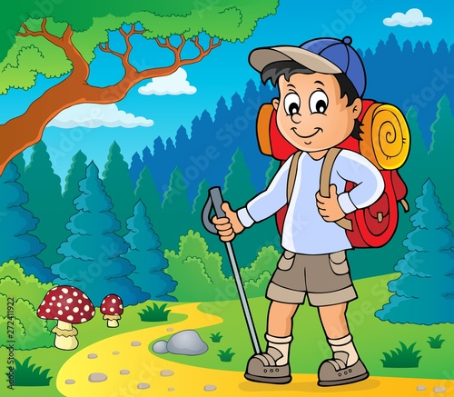 Wall Murals For Kids Image with hiker boy topic 2