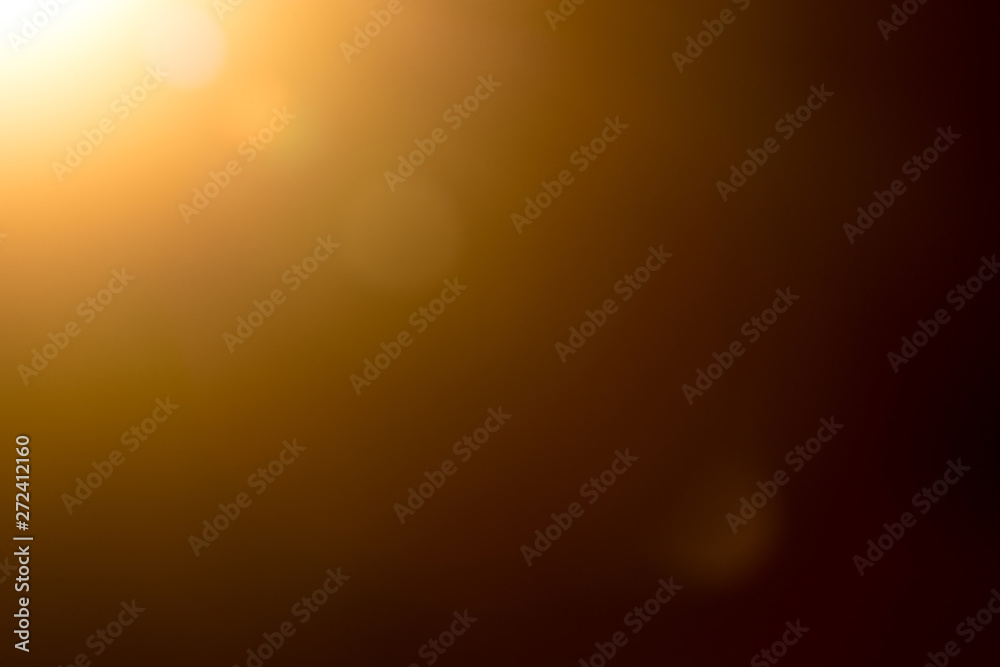 Fototapety, obrazy: Lens flare and light beam on dark background yellow color, photo from lens camera