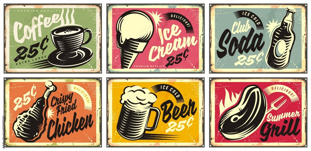 Fototapeta Food and drinks vintage restaurant signs collection. Set of retro advertisements for coffee, beer, ice cream, club soda, grill and fried chicken. Vector illustration.