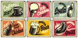 Jedzenie i napoje kolekcja zabytkowych restauracji znaki. Zestaw retro reklam kawy, piwa, lodów, napojów gazowanych, grilla i smażonego kurczaka. Ilustracji wektorowych.