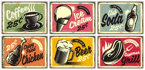 Obraz Food and drinks vintage restaurant signs collection. Set of retro advertisements for coffee, beer, ice cream, club soda, grill and fried chicken. Vector illustration. - fototapety do salonu