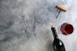 Leinwanddruck Bild - Showcase of vintage wine bottles with empty sticker labels.