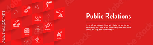 Foto  Public Relations Web Header Banner and Icon Set with brand awareness, strategy,