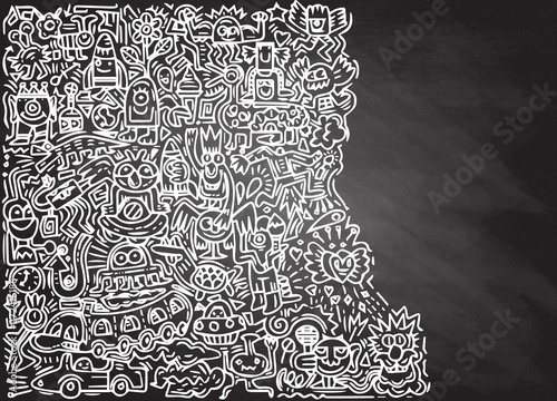 illustration of Doodle cute Monster with copy space background ,Hand drawing Doodle