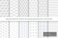 Collection Of White And Gray Tile Seamless Decorative Smooth Textures. Geometric Repeatable Backgrounds.