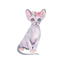 Watercolor Cute Cat With Flowe...
