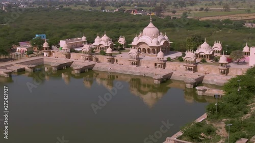 Fototapeta Ancient India temples , U.P, 4k aerial drone view