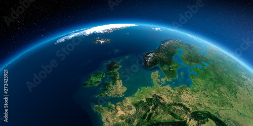 Detailed Earth. United Kingdom and the North Sea Wallpaper Mural