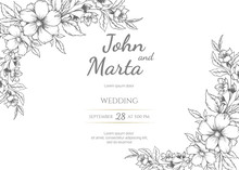 Wedding Invitation With Summer Flowers. Black And White Vector Illustration. Floral Black Line Art Ink Drawing With Geometric Frame. Eps 8.