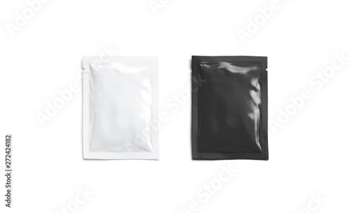 Recess Fitting London Blank black white sachet packet mockup, isolated, top view,