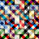 Seamless vector image. Patchwork plaid pattern. Imitatin of interweaving ribbons.