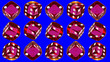 canvas print picture - 15 red transparent plastic dice, rotating on a blu background.