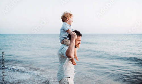 Father with a toddler boy walking on beach on summer holiday, having fun Canvas Print