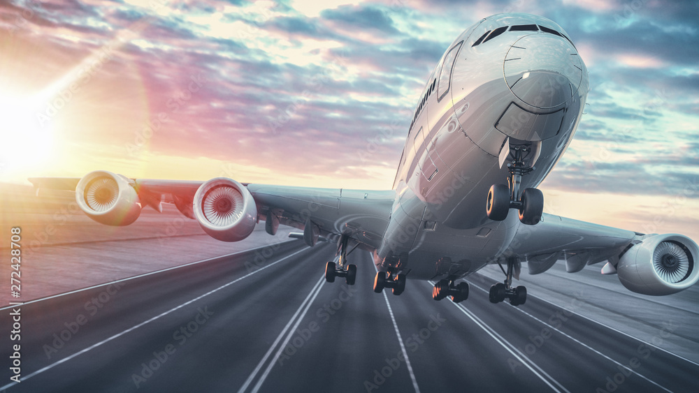 Fototapety, obrazy: Airplane taking off from the airport.