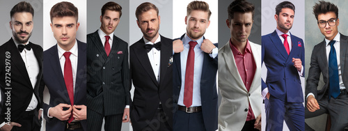 Photomontage of eight young casual men posing Fototapeta