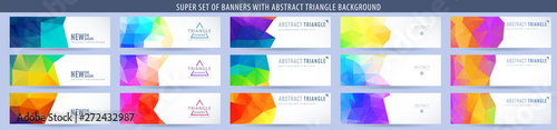 Fototapeta Set of abstract vector banner with triangle rainbow background. Template for design obraz