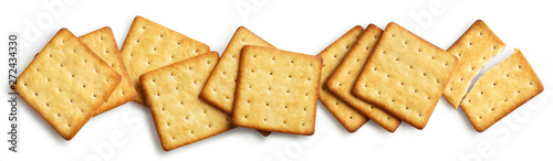 Obraz na plátně  Delicious square crackers, isolated on white background