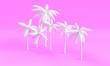 Leinwanddruck Bild - white palm tree 3d render on pink background