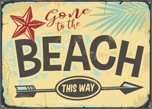 Gone To The Beach Retro Vector Sign