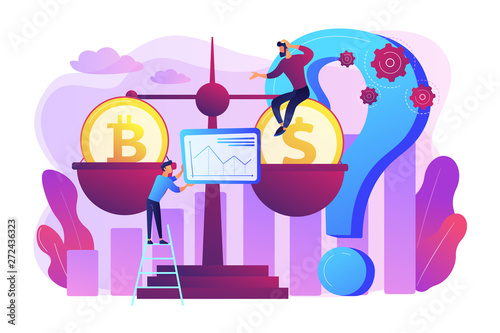 Virtual money exchange, market statistics analysis. Bitcoin price prediction, cryptocurrency price forecast, blockchain invest profitability concept. Bright vibrant violet vector isolated illustration - 272436323