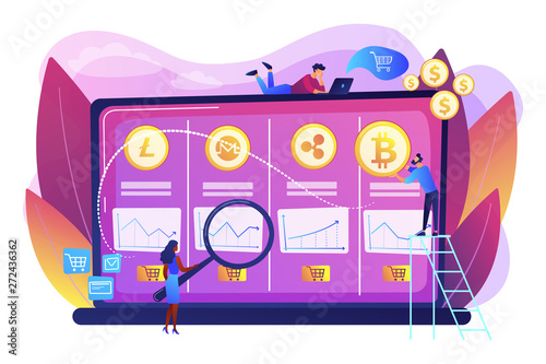 Economic data analysis, market value calculation. Cryptocurrency trading desk, bitcoin futures platform, official crypto exchange services concept. Bright vibrant violet vector isolated illustration - 272436362