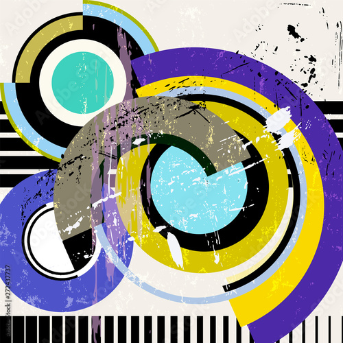 abstract circle background, retro/vintage style with stripes, paint strokes and splashes