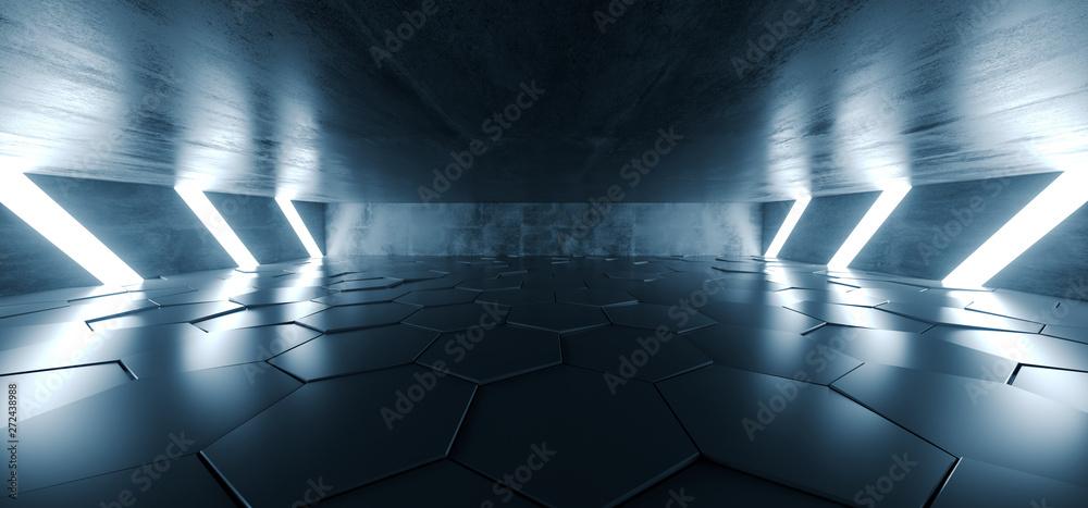 Fototapety, obrazy: Sci Fi Futuristic Concrete Grunge Tunnel Hallway Reflective Garage Underground Garage Glowing Blue White Windows Led Lights Tiled Floor 3D Rendering