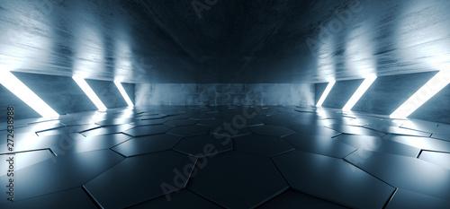Sci Fi Futuristic Concrete Grunge Tunnel Hallway Reflective Garage Underground G Tableau sur Toile