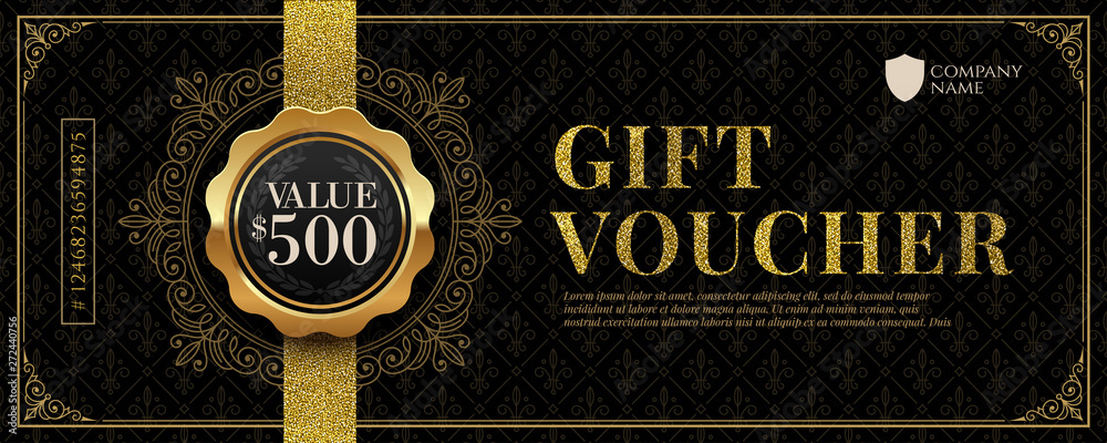 Fototapeta Gift voucher template with glitter gold luxury elements. Vector illustration. Design for invitation, certificate, gift coupon, ticket, voucher, diploma etc.