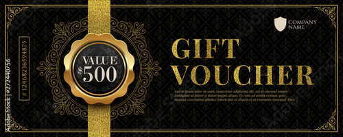 Obraz Gift voucher template with glitter gold luxury elements. Vector illustration. Design for invitation, certificate, gift coupon, ticket, voucher, diploma etc. - fototapety do salonu