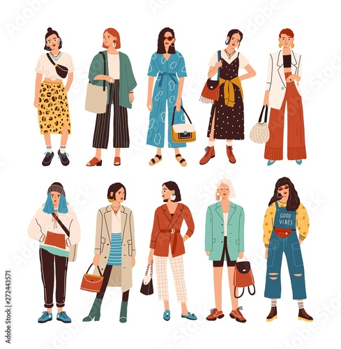 Collection of stylish young women dressed in trendy clothes. Set of fashionable casual and formal outfits. Bundle of cute girl hipsters or trendsetters. Flat cartoon colorful vector illustration. Wall mural