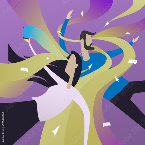 Digital Information overload concept. Couple attacked by information flows or streams. Incoming mail spam problem, communication, message overdose flat illustration