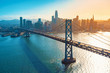canvas print picture Aerial view of the Bay Bridge in San Francisco, CA