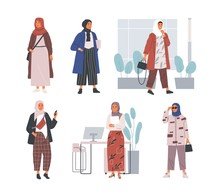 Bundle Of Modern Young Muslim Women Wearing Trendy Clothes And Hijab. Set Of Fashionable Arab Girls. Collection Of Female Characters Isolated On White Background. Flat Cartoon Vector Illustration.