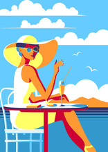 Girl With A Phone On Vacation. Summer Poster