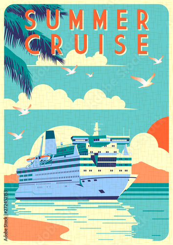 Photo sur Aluminium Turquoise Art Deco cruise ship vector illustration. Passenger liner in ocean.